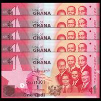 Lot 5 PCS, Ghana 1 Cedi, 2015, P -37 NEW, banknotes, UNC