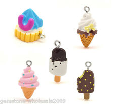 30PCS Wholesale Lots Mixed Resin Ice Cream Charms Pendants GW