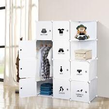 Homcom Armoire Placard Armoire de Rangement Organisateur 10 compartiments vêtements Hang blanc