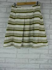 Q  The Letter by Cue A Line Pleat Skirt Green, White Stripe Cotton Linen Mix