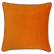 """FILLED LUXURY LARGE SOFT VELVET CLEMENTINE ORANGE HOT PINK PIPED CUSHION 22"""""""