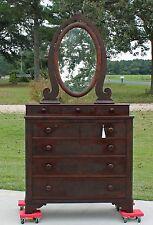 American Empire Flamed Mahogany Chest Dresser Oval Wishbone Mirror & Key c1830