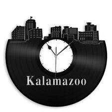 Kalamazoo City Skyline Vinyl Record Wall Clock Cityscape Art Unique Room Decor