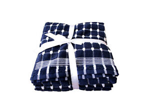 Navy Blue Thick Terry Tea Towels Extra Large Ribbon Packed 100% Cotton Pack of 4