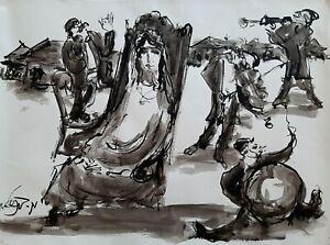 MOSHE BERNSTEIN (1920-2006), Large Ink on Paper, Klezmer at The Wedding, Signed