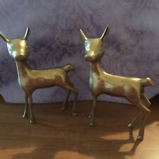 2 Brass Deer Fawn Doe Animal standing Vintage Collectable