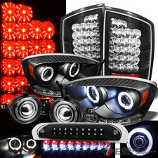 For 07-09 Ram Black Pro Headlights + LED Tail Lights + 3rd Brake + Halo Pro Fog