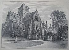 "ANTIQUE ENGRAVING PRINT ""VIEW OF CARLISLE CATHEDRAL"" ENGLAND C 1886 A"