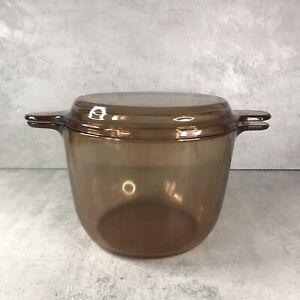 VISION  CORNING Casserole Dish Stock Pot Smoke/amber glass