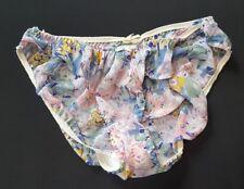 Victoria Secret Floral Pink Pastels High Cut Ruffle Sheer Vtg Panties large 7