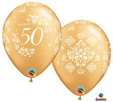 "10 Pce Happy 50th Damask Anniversary Wedding Party Heart Gold 11"" Latex Balloons"