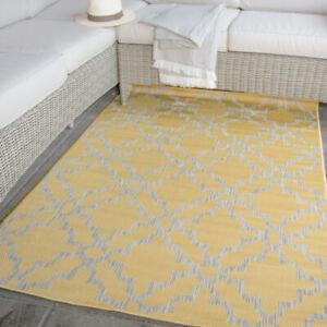 Mustard Trellis Outdoor Rug | Washable Flatweave Rug | Moroccan Garden Patio Mat
