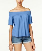 NWT Ultra Flirt Womens Sz M Blue Off-Shoulder Shirred Blouse Top Boho Peasant