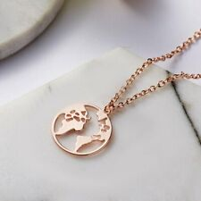 Hot Rose Gold Globe Map Round Pendant Necklace Women Jewelry Best Friends Gift