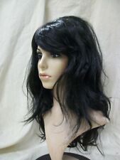 Sexy Black Lush Layers Costume Wig Retro 60s 70s Supermodel Jersey Girl Mod Gal