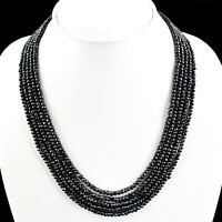 FINEST 294.30 CTS NATURAL 5 STRAND RICH BLACK SPINEL FACETED BEADS NECKLACE