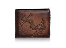 Shagwear Vintage Anchor Men's Bi-Fold Wallet, Brown