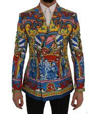 NEW $3400 DOLCE & GABBANA Blazer Jacket Dragon Print Silk Slim Fit IT48 /US38/ M