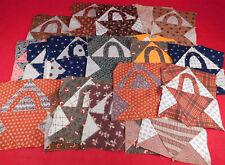 Victorian Antique Calico Chintz Cotton Fabric 25 Squares Basket Quilt Blocks Lot