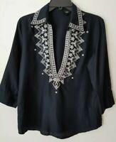 TALBOTS Navy Blue Embroidered V Neck 3/4 Sleeve Boho Blouse Shirt Top sz 10