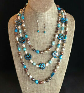 Freshwater Pearl Necklace Strand Turquoise Animal Print MOP Station Lot 3 #1657