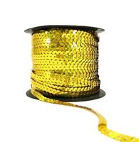 Holographic Gold 6mm Sequin Trimming String Flat Round Costume (1/3/5/10/90M)