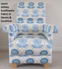 Laura Ashley Sunflowers Fabric Chair Armchair Denim Blue Sunshine White Bedroom