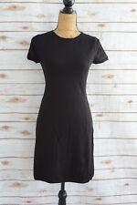 Ann Taylor LOFT - Black knit rayon blend short sleeve ZIP back sweater dress, S