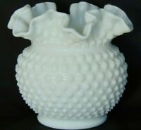 "FENTON WHITE MILK GLASS HOBNAIL 5 1/2"" VASE, ROSE BOWL -CRIMPED TOP EDGES- NICE!"