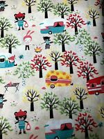 Fat Quarter Woodlands Camping Cotton Novelty Quilt Fabric Campers Bears Trees FQ