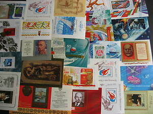 Scrap pile of 25 different? RUSSIA MH/MNH souvenir sheets, mixed condition