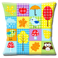 Owls Birds Leaves Cushion Cover 16 inch 40 cm Patchwork Print Child Design