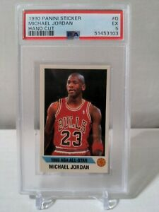 1990 Panini Sticker Michael Jordan Hand Cut #G PSA 5 EX GOAT 🔥🔥🔥