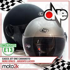 CASCO JET MOTO SCOOTER ONE CAMAMOTO NERO OPACO / ARGENTO LUCIDO