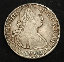 1795, Mexico, Charles Iv. Spanish Colonial Silver 8 Reales Coin. Tooled Vf!