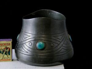 Orig Jugendstil Cachepot Zinn mit Glascabochon Irland o England verziert gemarkt