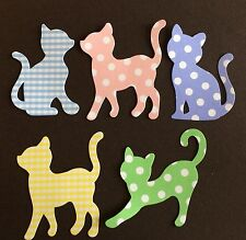Cats: 5 Calico Kitty Cats. Cards, Scrapbooks, Pets, Animals.
