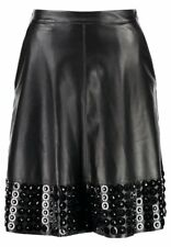 Lost Ink Embellished Hem Black PU Flare Skirt - UK Ladies Size 16- New with Tags