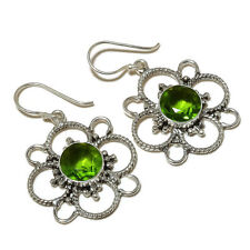 Faceted Peridot Round Gemstone silver plated Handmade Flower Designer Earrings