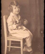 CHILD on PAJAMA w/TOY stuffed DOG. Original Vintage Real photo private postcard