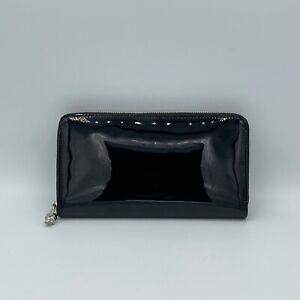 Alexander McQueen Black Patent Leather Zip Around Wallet 375282 DP00I 1000 N