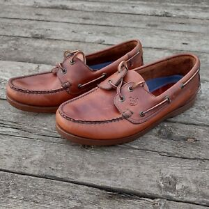Chatham Mens Brown Leather Boat Deck Shoes UK Size 7.5 EU41