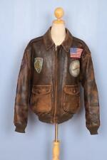 Vtg AVIREX A-2 USAAF Patched Flight Leather Jacket Size XXL