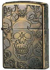 Zippo Mosh Skull 5-side Etching Antique Brass Japan Limited F/S Oil Ligter Rare