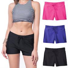 Plus Size Ladies Plain Black Swim Shorts Boy Style Short Bikini Swimwear Bottom