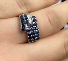 14K Solid White Gold Cluster Band Diamond Ring With Natural Sapphire,Sz 8