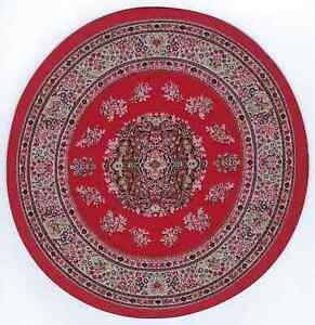 "1/12  DOLLS HOUSE TURKISH CIRCULAR CARPET 7.5""(19cm)  RED FLORAL"
