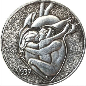 Hobo Nickel lot, 1937 heart-shaped Engreving coin, Coin Gift Souvenir us coins