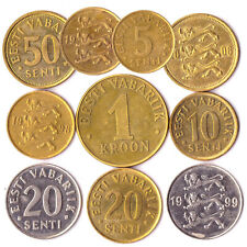 LOT OF 10 MIXED ESTONIAN COINS 5 SENTI - 1 KROON COLLECTIBLE CURRENCY 1991-2010
