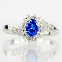 Luxus 925 Silber Ring Oval Sapphire Damen Schmuck Geschenk women silver ring Neu